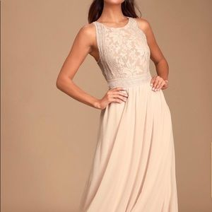 Lulus Forever and Always Blush Lace Maxi Dress